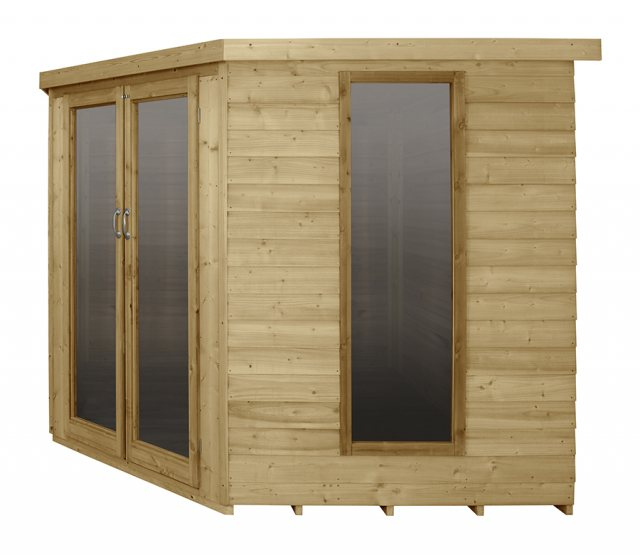 8 x 8 Forest Oakley Corner Summerhouse - Pressure Treated - Side elevation