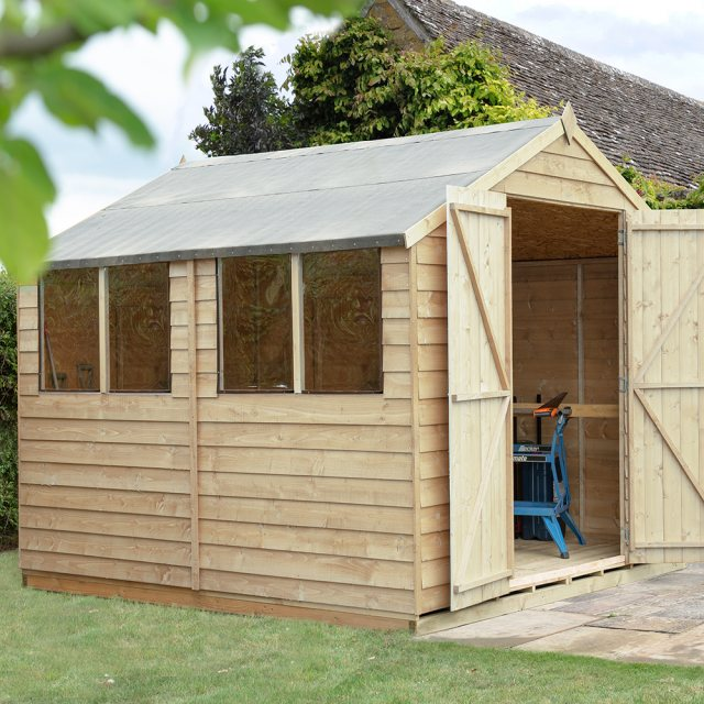 10 x 10 Forest Overlap Double Door Pressure Treated Apex Workshop Shed
