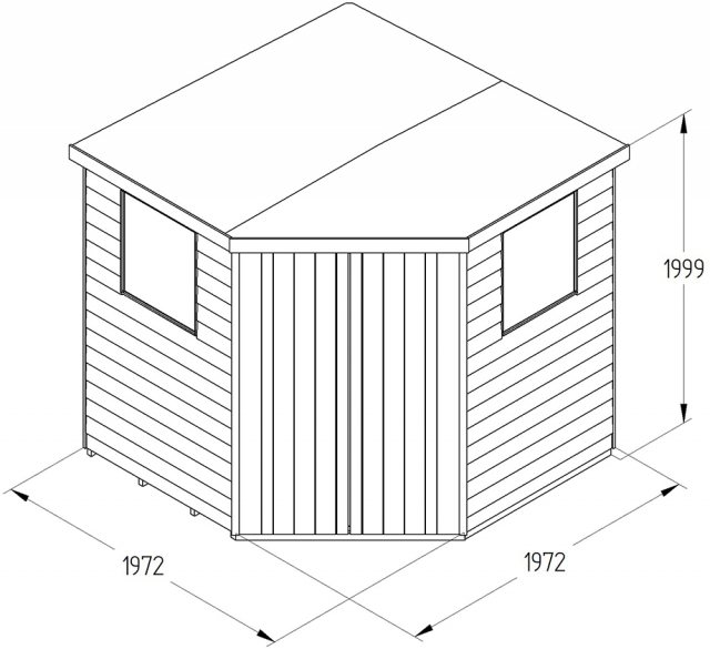 7x7 Forest Overlap Corner Shed - Specification