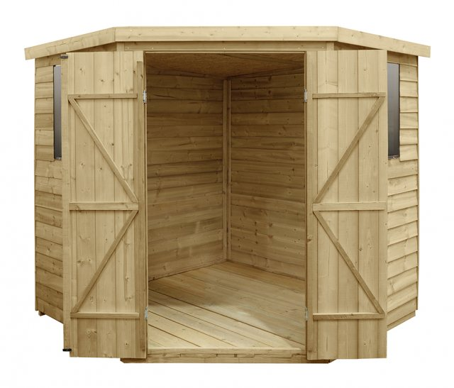 7x7 Forest Overlap Corner Shed - Door Open