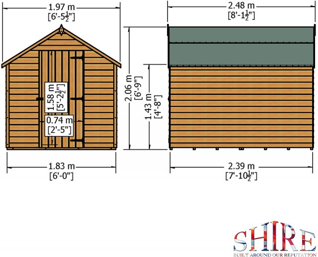 8 x 6 Shire Value Overlap Pressure Treated Shed - Windowless - Dimensions
