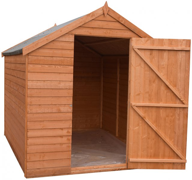 8 x 6 Shire Value Overlap Pressure Treated Shed - Windowless - Door Open