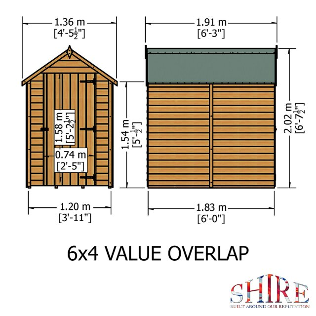 6 x 4 Shire Value Overlap Pressure Treated Shed with Single Door - Windowless - Floor plan