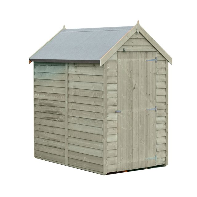 6 x 4 Shire Value Overlap Pressure Treated Shed with Single Door - Windowless - Dimensions