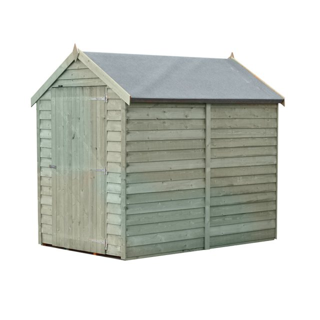 6 x 4 Shire Value Overlap Pressure Treated Shed with Single Door - Windowless - Side dimensions