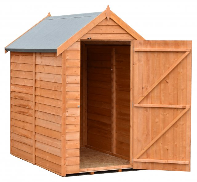 6 x 4 Shire Value Windowless Overlap Shed - door open
