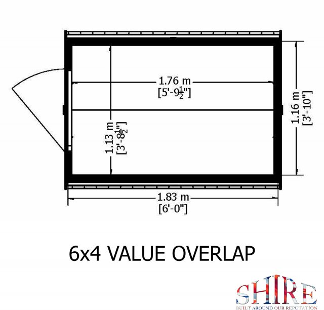 6 x 4 Shire Value Windowless Overlap Shed - base plan