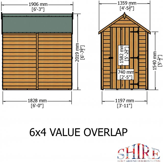 6 x 4 Shire Value Windowless Overlap Shed - Dimensions