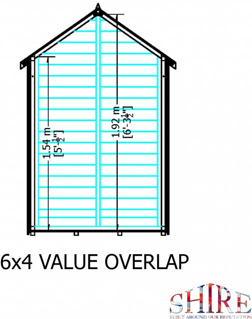 6 x 4 Shire Value Windowless Overlap Shed - Gable end  dimensions