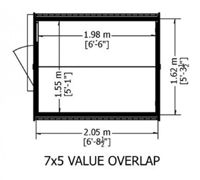 7 x 5 Shire Value Windowless Overlap Shed - Base plan