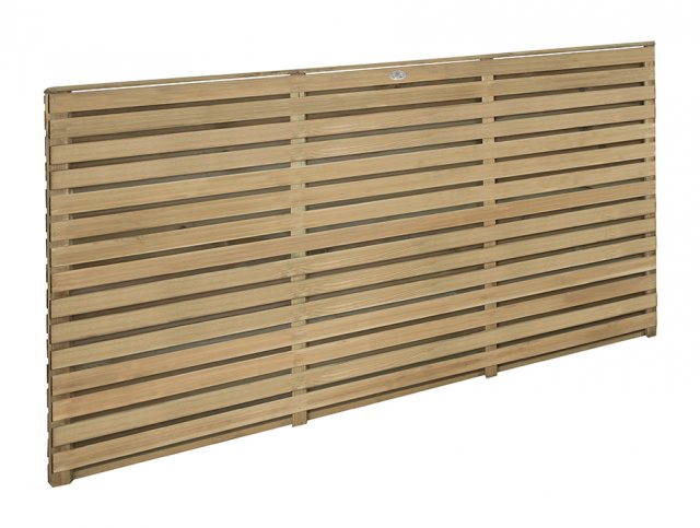 3ft High (900mm) Forest Contemporary Double-Sided Slatted Fence Panel - Pressure Treated - Angled