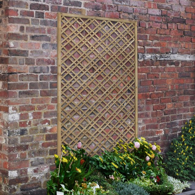 6ft High x 3ft Forest Double Slatted Diamond Lattice Trellis - Pressure Treated