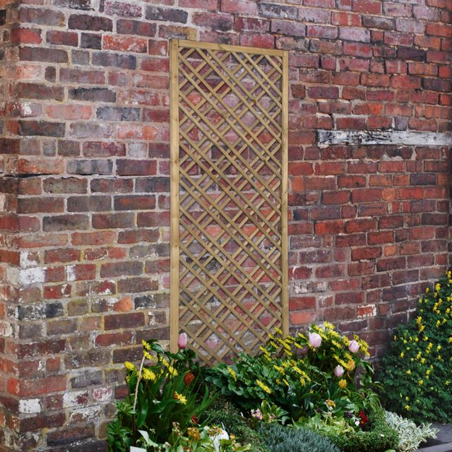 6ft High x 2ft Forest Double Slatted Diamond Lattice Trellis - Pressure Treated