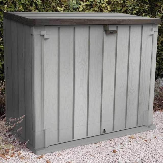5ft x 3ft Forest 1200L Extra Large Plastic Garden Storage Unit & Bin Store (Grey)
