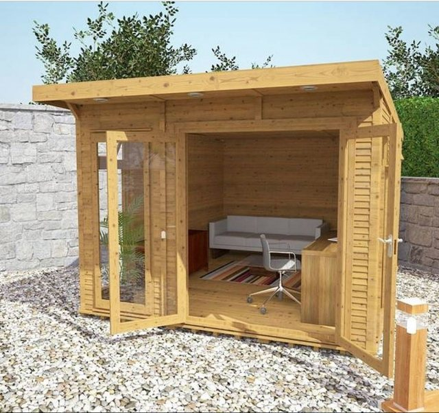 10 x 14 (3.10m x 4.10m) Mercia Insulated Garden Room - Open Doors and treated