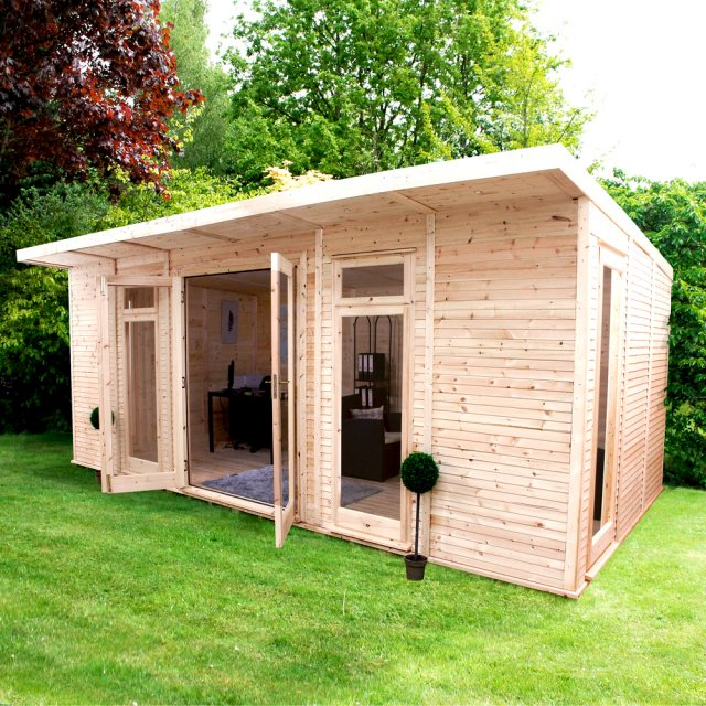 20 x 10 (6.10m x 3.10m) Mercia Insulated Garden Room - Front Angle View