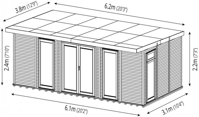 20 x 10 (6.10m x 3.10m) Mercia Insulated Garden Room - Dimension Drawing