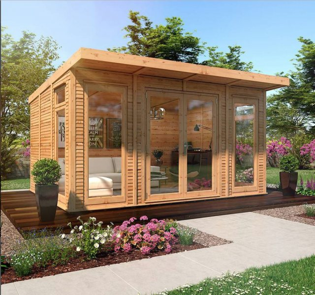 14 x 10 Mercia Insulated Garden Room - Front View - Closed Doors and treated