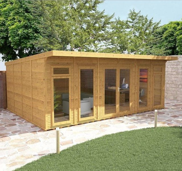 20 x 14 (6.10m x 4.10m) Mercia Insulated Garden Room - Angle - Closed Doors