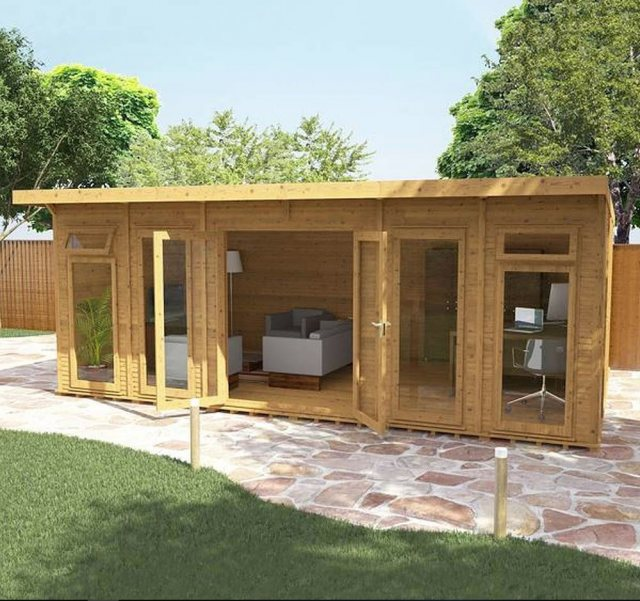 20 x 14 (6.10m x 4.10m) Mercia Insulated Garden Room - Angle View - Open Doors