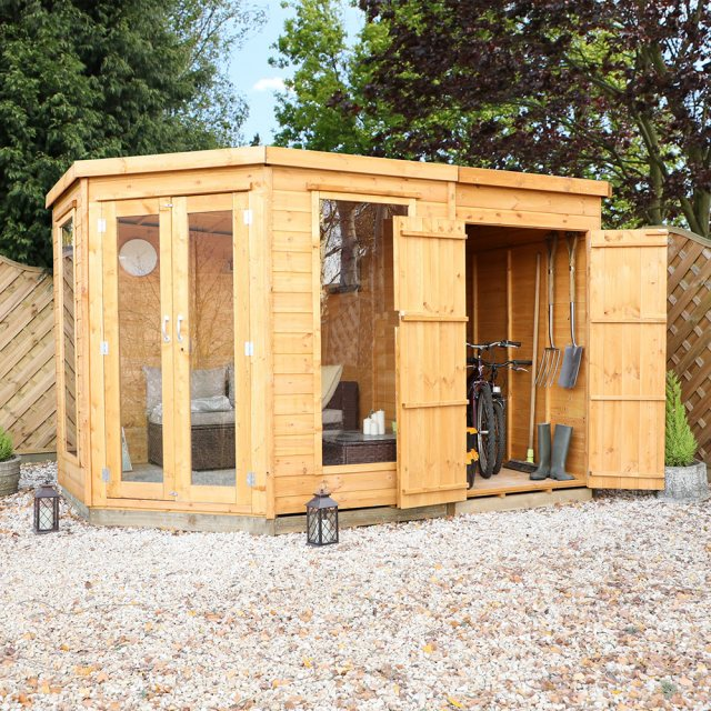 10 x 7 (3.13m x 1.98m) Mercia Corner Summerhouse with Side Storage - Front View with Open Storage