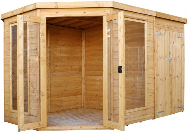 10 x 7 (3.13m x 1.98m) Mercia Corner Summerhouse with Side Storage - Front view with open Doors