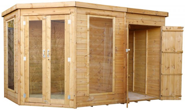 10 x 7 (3.13m x 1.98m) Mercia Corner Summerhouse with Side Storage - Angle View with open Storage