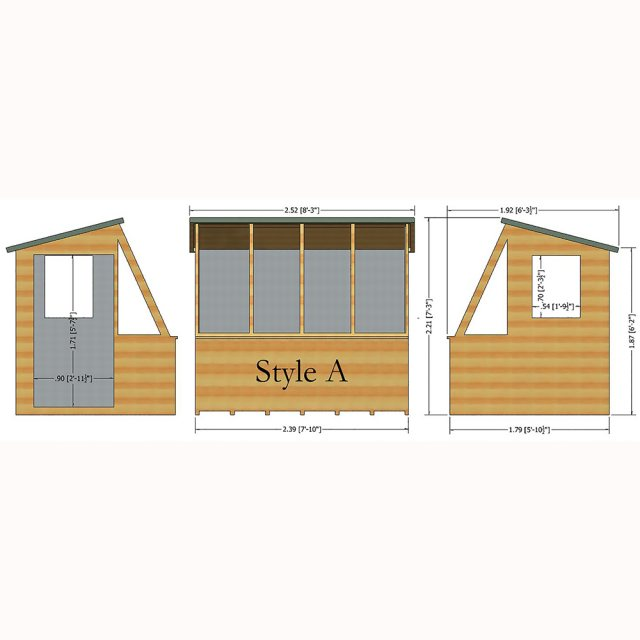8x6 Shire Iceni Potting Shed - Door in Left Hand Side - Diagram
