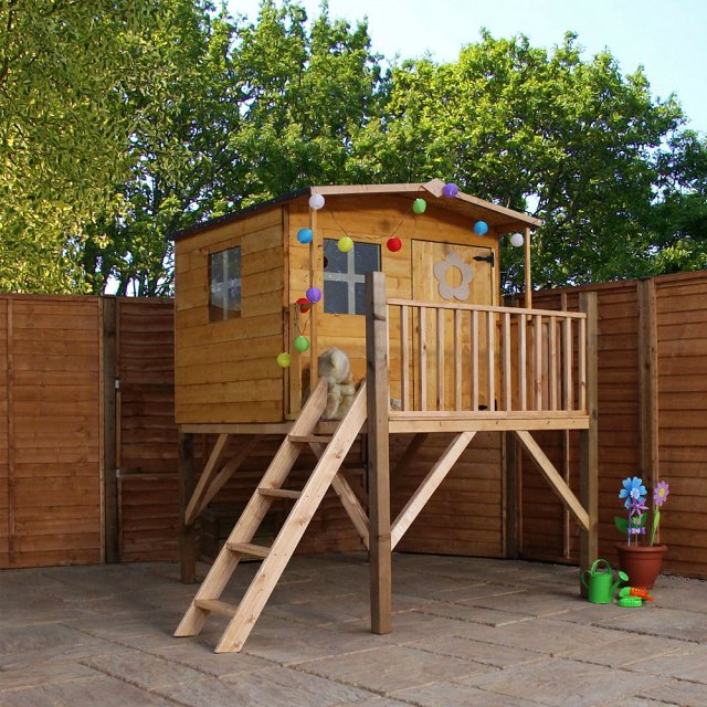 5 x 5 (2.34m x 2.00m) Mercia Rose Playhouse with Tower