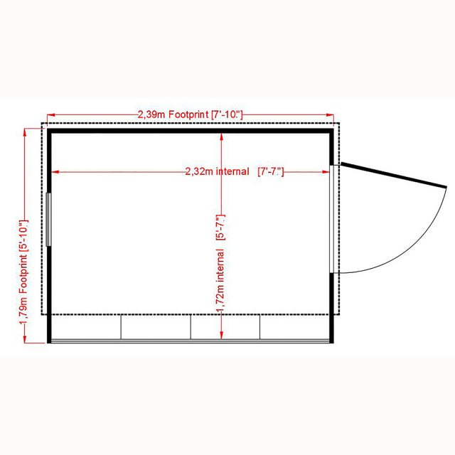 8x6 Shire Iceni Potting Shed - Door in Right Hand Side - Diagram
