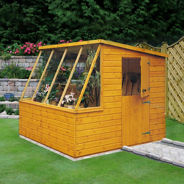 8 x 8 (2.39m x 2.39m) Shire Iceni Potting Shed - Door in Right Hand Side