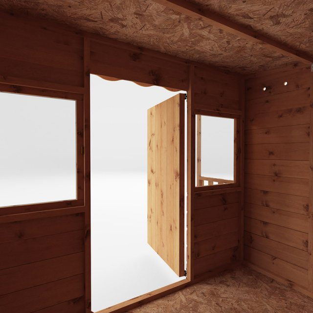 6 x 5 (1.76m x 1.66m) Mercia Pent Wooden Playhouse - unpainted front view