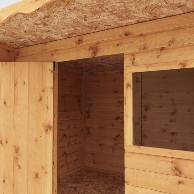 6 x 5 (1.76m x 1.66m) Mercia Pent Wooden Playhouse - unpainted side elevation