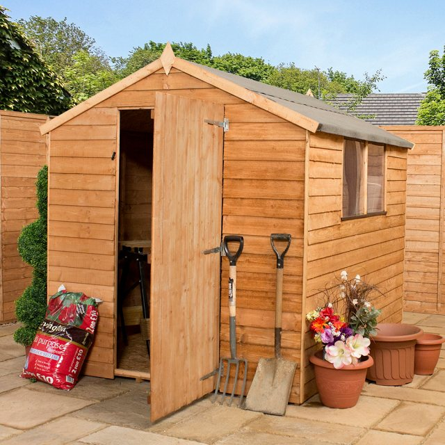 8 x 6 (2.40m x 1.90m) Mercia Overlap Apex Shed - Windowless