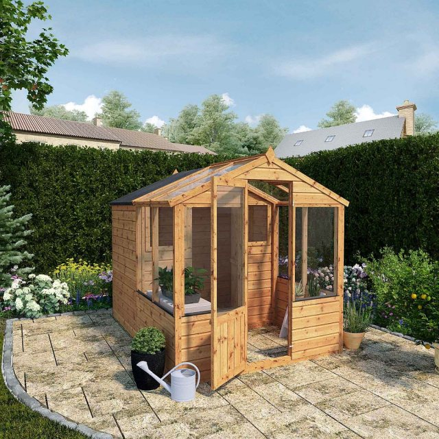 8 x 6 (2.44m x 1.86m) Mercia Greenhouse and Shed Combi