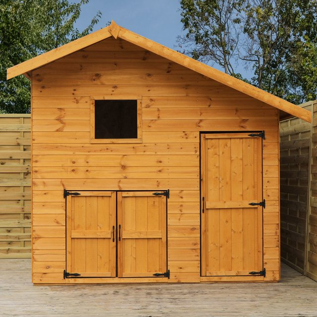 8 x 7 (2.66m x 2.24m) Mercia Double Storey Garage Playhouse - unpainted with doors closed