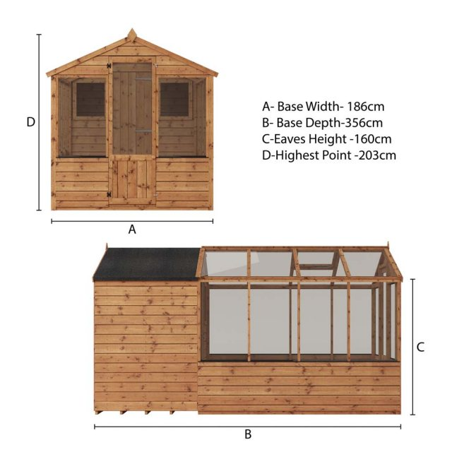 12 x 6 (3.56m x 1.86m) Mercia Greenhouse and Shed Combi - Plan