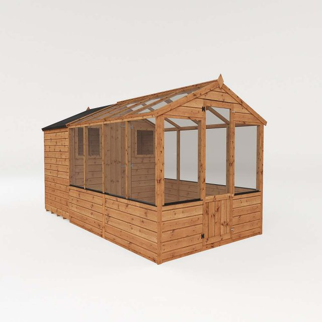12 x 6 (3.56m x 1.86m) Mercia Greenhouse and Shed Combi - Dimensions