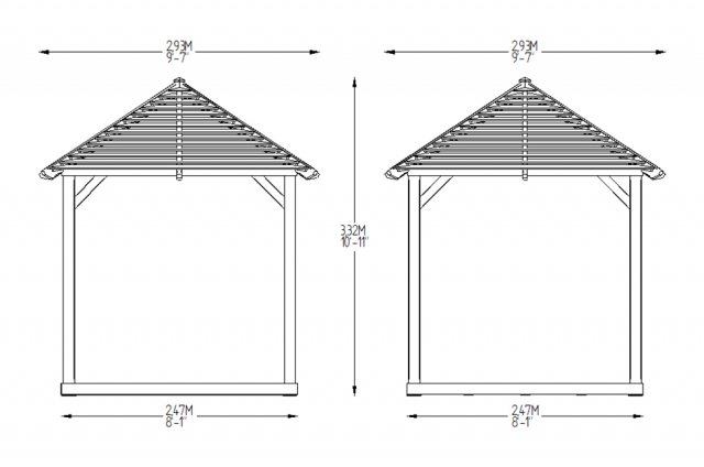10x10 Forest Venetian Pavilion without Decking -  Pressure Treated - dimensions