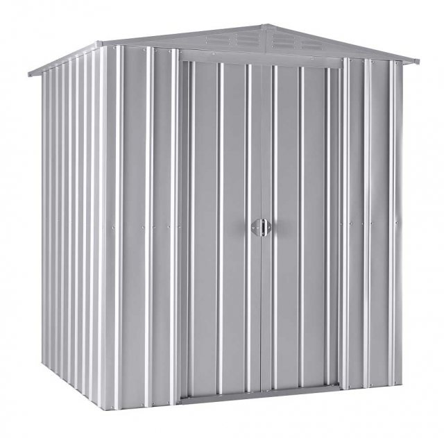 Isolated view of 6 x 5 Lotus Apex Metal Shed in Aluminium White with sliding doors closed