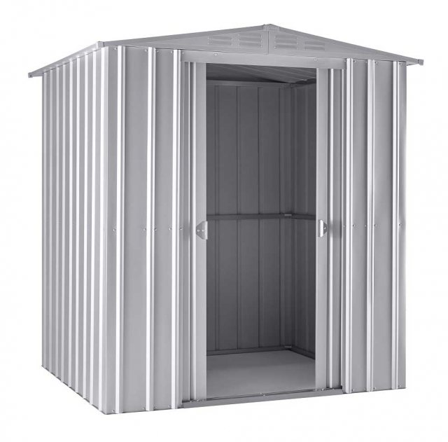 Isolated view of 6 x 5 Lotus Apex Metal Shed in Aluminium White with sliding doors open