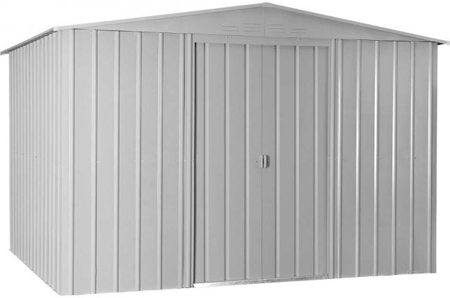 Isolated view of 10 x 8 Lotus Apex Metal Shed in Aluminium White with sliding doors closed