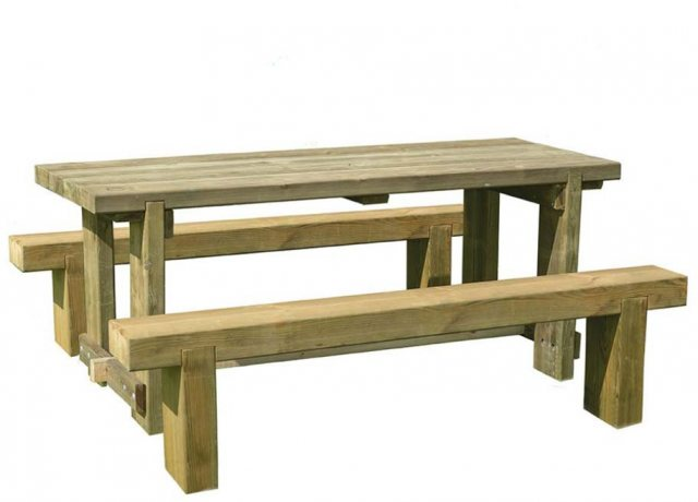 1.8m Forest Refectory Table and Sleeper Bench Set