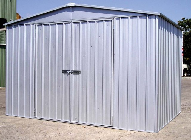 10 x 12 Mercia Absco Regent Metal Shed in Titanium - in situ