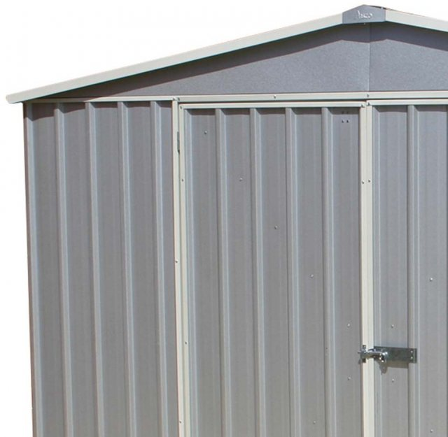 10 x 12 Mercia Absco Regent Metal Shed in Titanium - detail of double doors