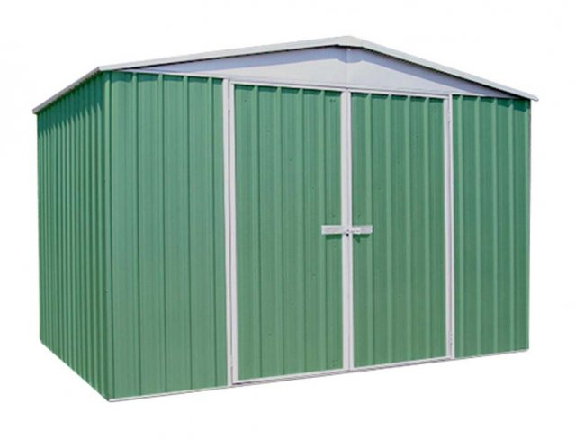 10 x 12 (3.00m x 3.66m) Mercia Absco Regent Metal Shed in Pale Eucalyptus