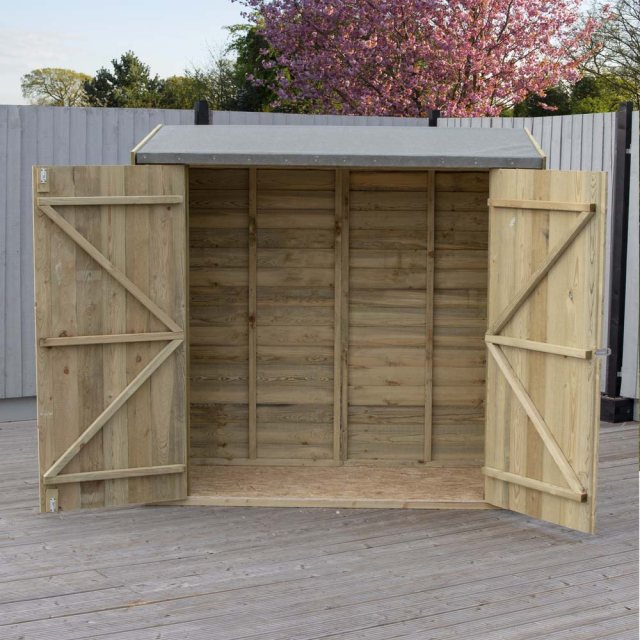 3 x 6 Shire Pent Overlap Shed with Double Doors - Pressure Treated - both doors open
