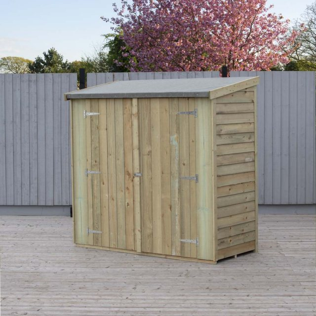 3 x 6 Shire Pent Overlap Shed with Double Doors - angled view