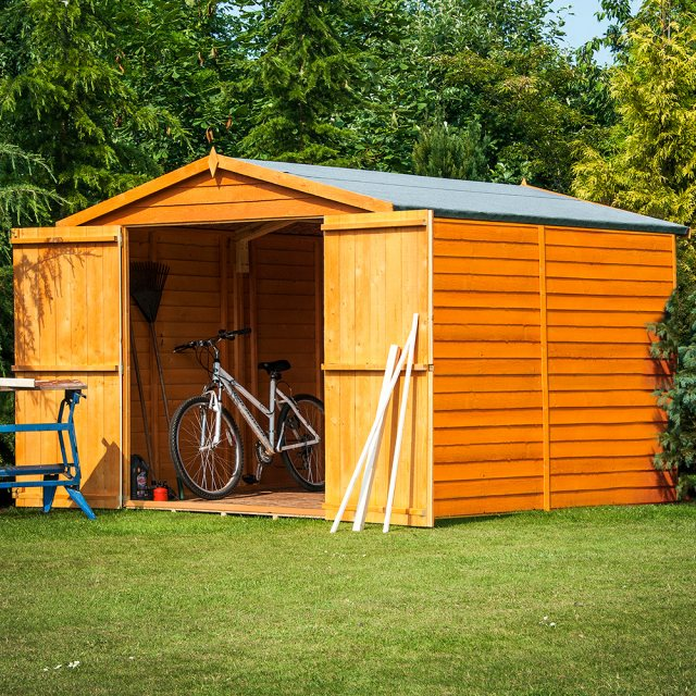 10x8 Shire Overlap Apex Shed - No Windows - Double Door