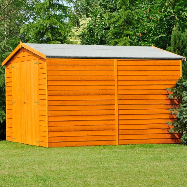 10x8 Shire Overlap Apex Shed - No Windows - Partial Front and Full Side View